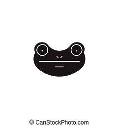 Frog black vector concept icon. Frog flat illustration, sign
