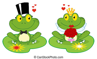 Frog Bride And Groom On Lily Pads - Bride and Groom Frogs...