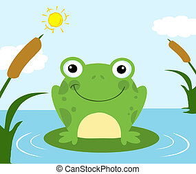 Frog Cartoon Character - Smiling Frog In A Pond