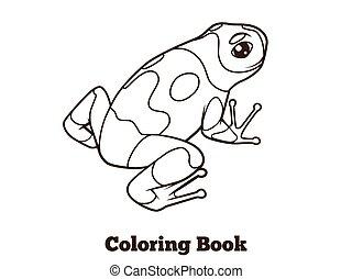 Frog cartoon coloring book vector