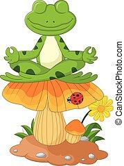 frog cartoon sitting on mushroom