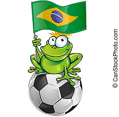 frog cartoon with flag of brazil