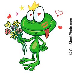frog cartoon with  flowers