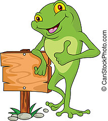 Frog cartoon with signboard - Frog cartoon thumb up with...