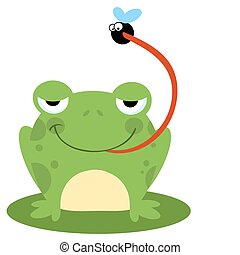 Frog Catching Bug  - Frog Catching A Fly Cartoon Character