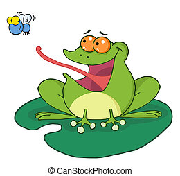 Frog Catching Bug  - Frog Catching Fly Cartoon Character