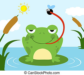 Frog Catching Fly - Frog Catching A Fly On A Pond