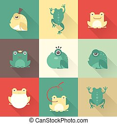 Frog characters flat - Family camping outdoors vector...