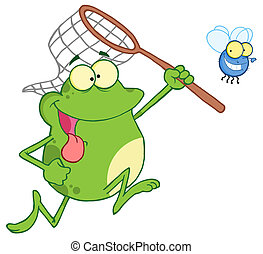 Frog Chasing Fly With A Net Cartoon Character
