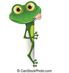 frog - illustration, merry green frog with greater eye