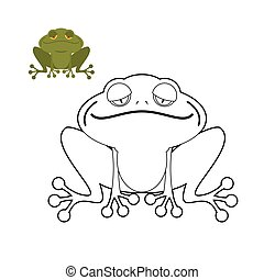Frog coloring book. Funny amphibious reptile. Animal from swamp. Green Toad.