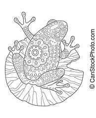 Frog coloring book vector illustration
