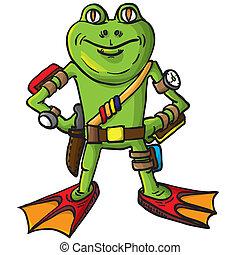 Frog, combat swimmer. Vector illustration.