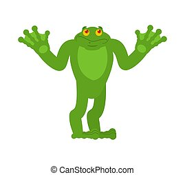Frog confused oops. Toad perplexed emotions. Anuran surprise...