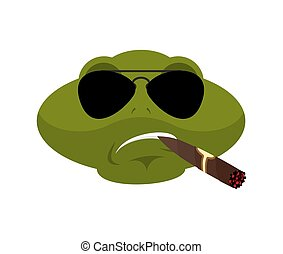 Frog Cool brutal serious avatar of emotions. Toad smoking cigar emoji. Anuran strict. Vector illustration