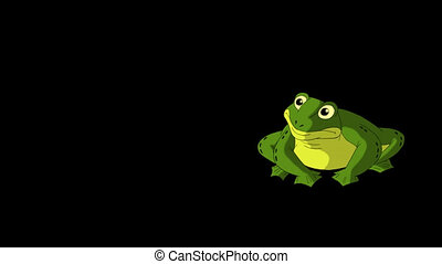 Frog Croaking and Jumps. Animated footage with alpha...