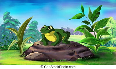 Frog Croaking UHD - Green Frog Sitting and Croaking in a...