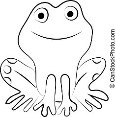 Frog drawing, illustration, vector on white background.