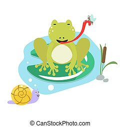 Frog eating moth on pond cartoon clipart vector set. Snail,...