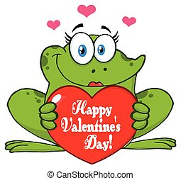 Frog Female Cartoon Mascot Character Holding A Valentine Love Heart With Text Happy Valentines Day