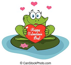 Frog Female Cartoon Mascot Character In A Pond Holding A Valentine Love Heart With Text Happy Valentines Day