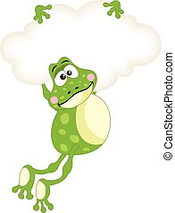 Frog flying with blank cloud