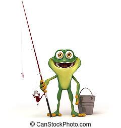 3d render cartoon of frog series