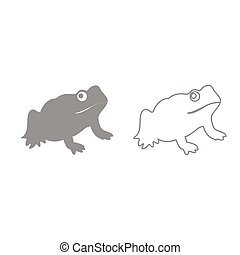Frog grey set icon .