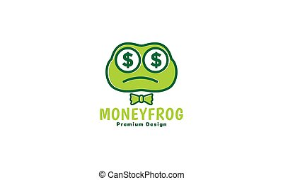 frog head cartoon with money logo vector icon symbol graphic design illustration
