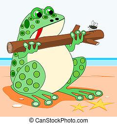 Frog holding a log