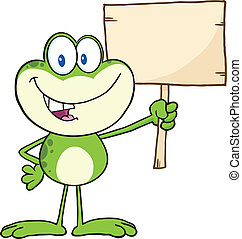 Frog Holding Up A Wood Sign - Cute Green Frog Cartoon...