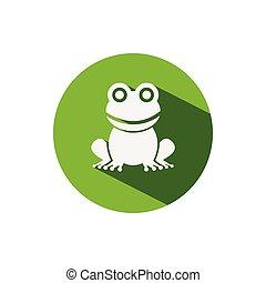 Frog. Icon on a green circle. Animal vector illustration