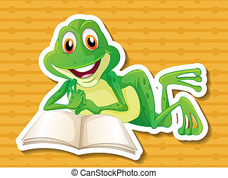 Frog  - illustration of a frog reading a book