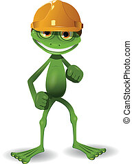 Frog in a helmet - illustration of a green frog in the...