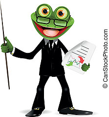 Frog in a suit - Frog in a black suit with a pointer
