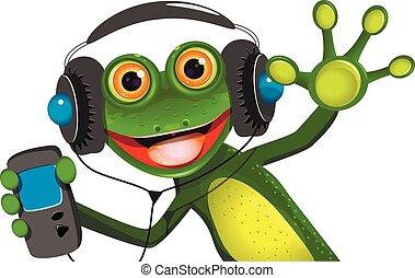 Frog In Headphones - Illustration of a cartoon frog in...