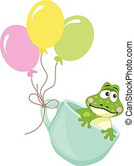 Frog in teacup with balloons