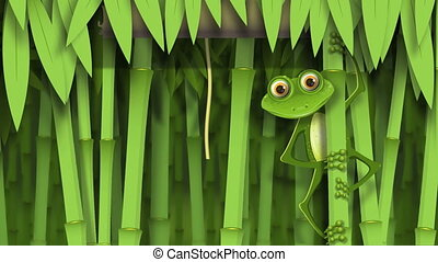 video curious frog on stem of the bamboo