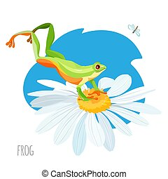 Frog jumping on chamomile flower vector sketch drawing -...