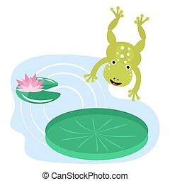 Frog jumping on water lily cartoon clipart vector set....