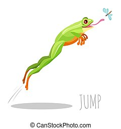 Frog jumping to catch fly isolated on white icon - Bright...