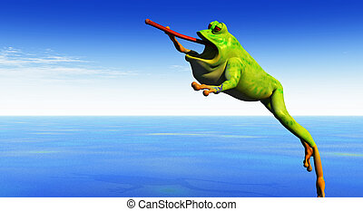 frog leaps - a cartoon 3d frog leaps into the air with...