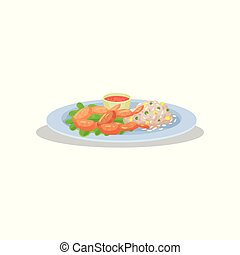 Frog legs with garnish on a plate, delicious dish of French cuisine vector Illustration on a white background