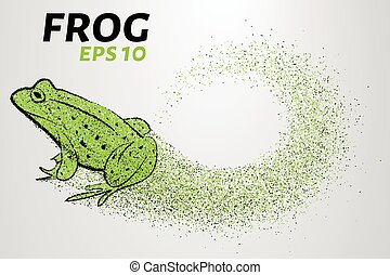 Frog of particles. The frog consists of small circles. Vector illustration