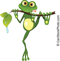 illustration curious frog on stem of the tree