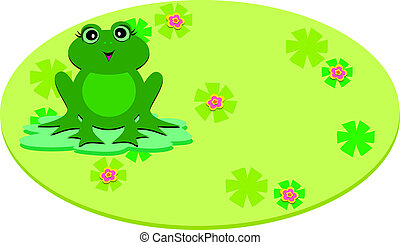 Frog on a Pod Oval - This Oval Frame includes a sweet Frog...