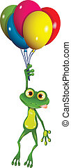 Frog on balloons - illustration flying fun green frog in...