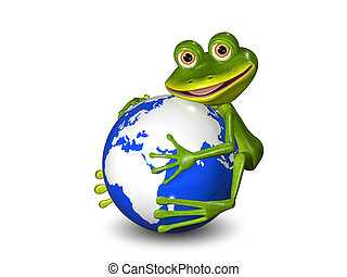 frog on Globe - illustration merry green frog on a blue...