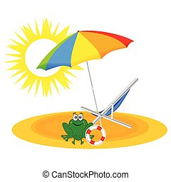 frog on the paradise beach vector illustration