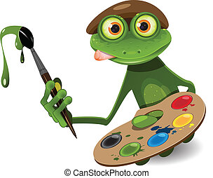 frog painter - illustration green frog artist with palette...